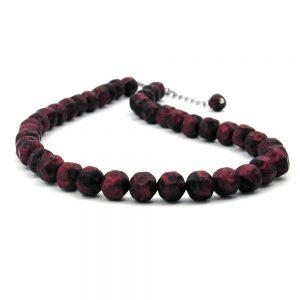 Collier rouge  noir perles 42 cm 00612xx