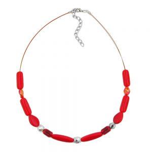 Collier rouge perles de verre arrosees sur fil flexible enduit 00506xx