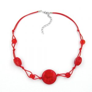Collier rouge perles marbrees cordon rouge 00523xx