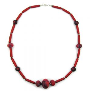 Collier rouge perles marbrees rouges metalliques 01598xx