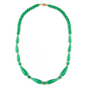 Collier soyeux perles chatoyantes vert 05532xx