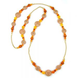 Collier terra ocre orange 100cm 01038xx