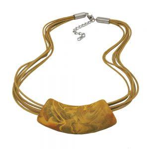 Collier tube incurve jaune olive 50cm 07900xx