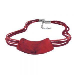 Collier tube plat courbe rouge noir 50cm 00472xx