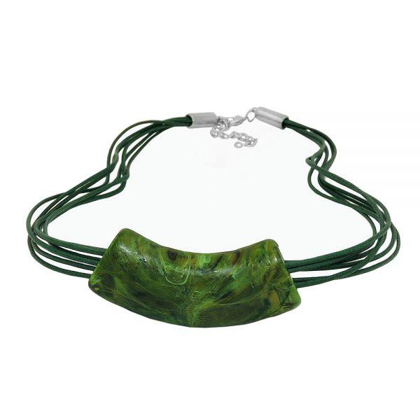 Collier tube plat courbe vert 50cm 01397xx