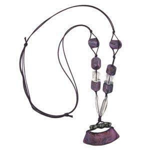 Collier tube plat courbe violet 90cm 00695xx