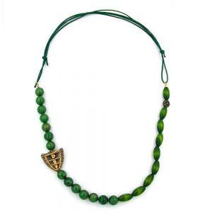 Collier vert fonce  vert marbre 00851xx