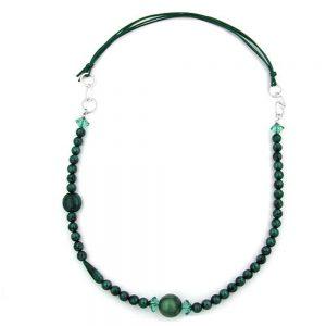 Collier vert  turquoise  anneaux de chrome soyeux 00849xx