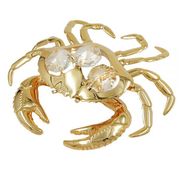 Crabe avec des elements en cristal plaque or 70551xx