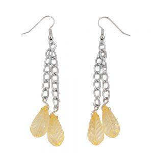 Crochet boucles doreilles chaine argente avec des perles de feuille jaune 01071xx