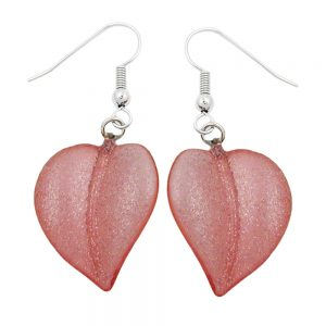 Crochet boucles doreilles feuille perle rose 00857xx