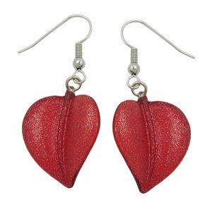 Crochet boucles doreilles feuille perle rouge 00826xx