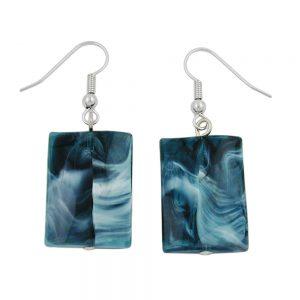 Crochet boucles doreilles oreiller perle bleu fonce noir 02554xx