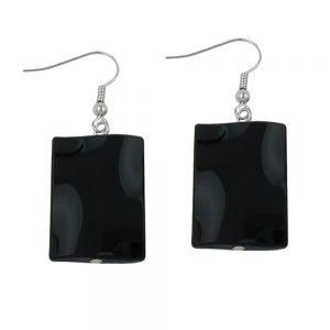 Crochet boucles doreilles oreiller perle brillant noir 00672xx