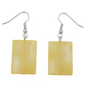 Crochet boucles doreilles oreiller perle jaune soyeux brillant 05290xx