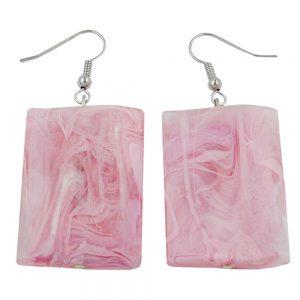 Crochet boucles doreilles oreiller perle rose marbre 00689xx