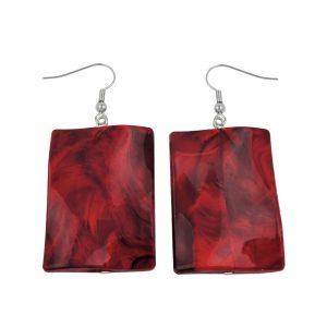 Crochet boucles doreilles oreiller perle rouge fonce 01037xx