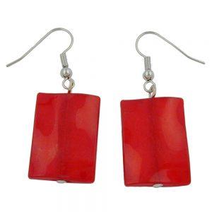 Crochet boucles doreilles oreiller perle soyeux rouge 00679xx