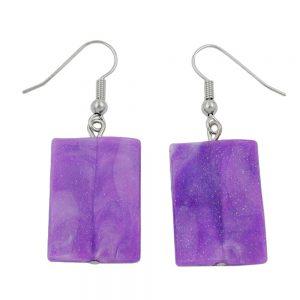 Crochet boucles doreilles oreiller perle violet 02620xx