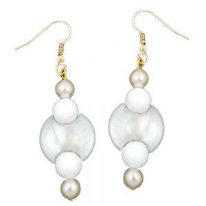 Crochet boucles doreilles perles blanc perle blanc or couleur 01239xx