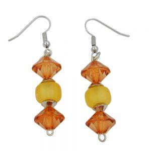 Crochet boucles doreilles perles broyees topas jaune 00016xx