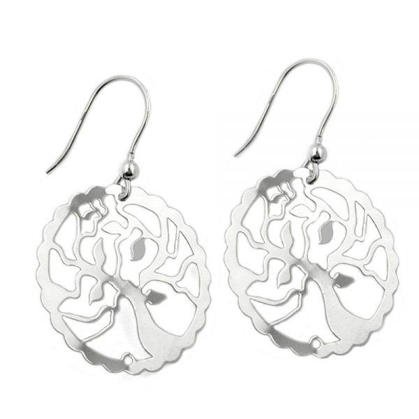 Crochet boucles oreilles arbre design argent 925 Krossin bijoux en argent 93315xx