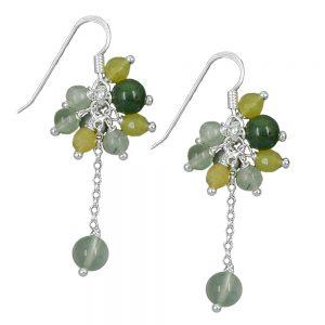 Crochet boucles oreilles couleur vert argent 925 Krossin bijoux en argent 92440xx