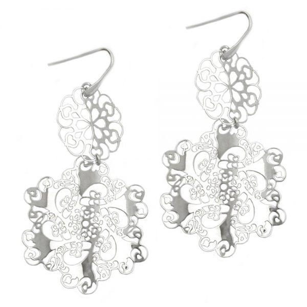 Crochet boucles oreilles fleurs argent 925 Krossin bijoux en argent 93320xx