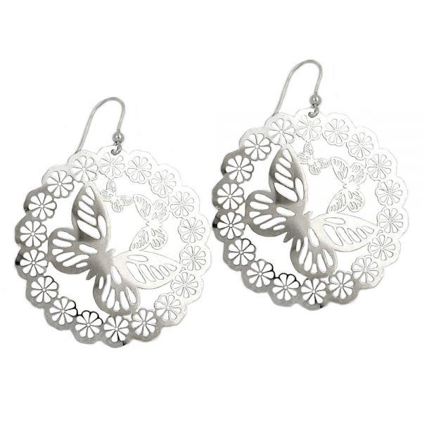 Crochet boucles oreilles papillon fleurs argent 925 Krossin bijoux en argent 93318xx