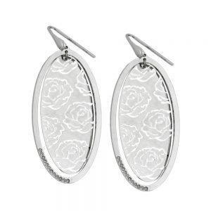 Crochet boucles oreilles roses argent 925 Krossin bijoux en argent 93319xx