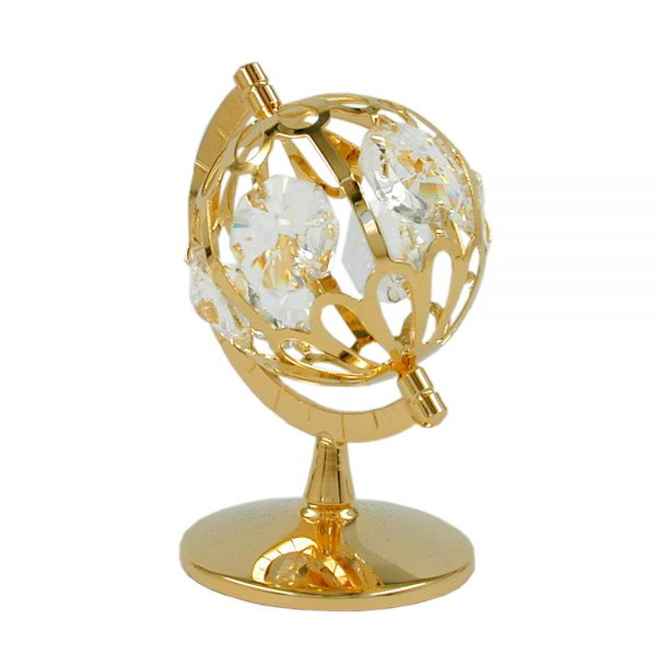 Globe avec des elements en cristal plaque or 70212xx