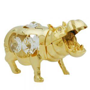 Hippopotame avec des elements en cristal plaque or 70630xx