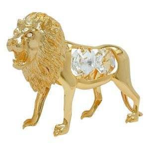 Lion avec des elements en cristal plaque or 70553xx