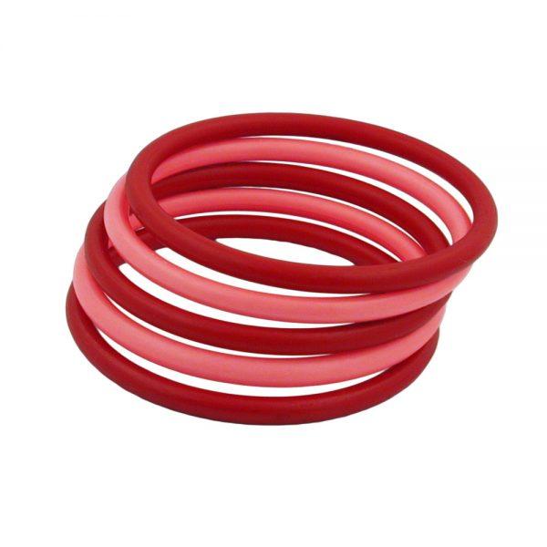 Lot de 5 bracelets en plastique 2x rouge et 3x rose 03232xx