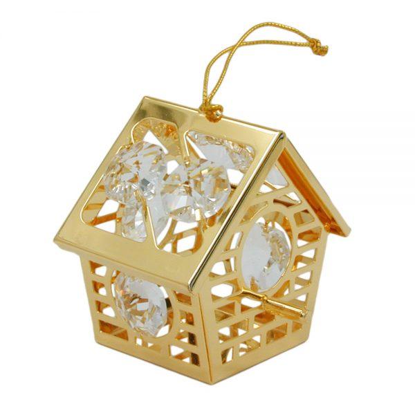 Maison d oiseau avec des elements en cristal plaque or 70213xx