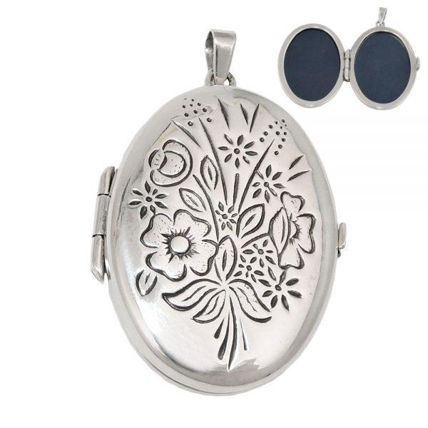 Medaillon floral design argent 925 Krossin bijoux en argent 93540xx