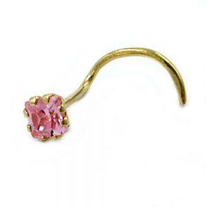 Nez vis rose zircon rose or 18 carats 430727xx