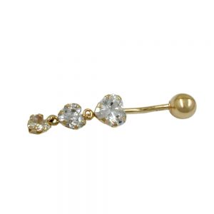 Nombril Piercing 3 coeurs 14k or 430514xx