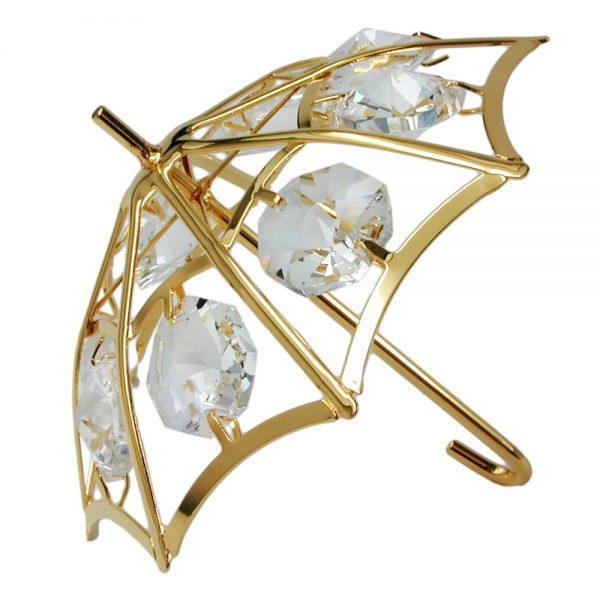 Parapluie avec des elements en cristal plaque or 70004xx