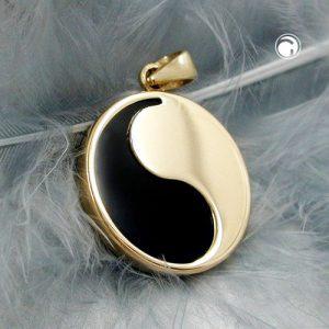 Pendentif 15mm yin yang onyx 9k or Krossin bijoux or 430775x