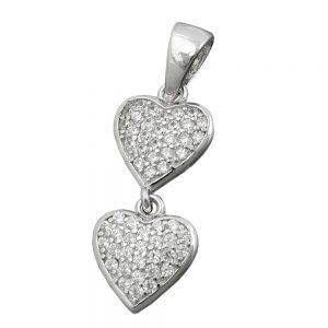 Pendentif 2 coeurs zircons argent 925 Krossin bijoux en argent 94085xx