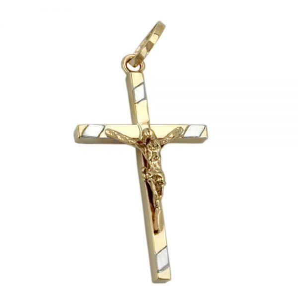 Pendentif 22mm crucifix bicolore en or 9 carats 431134xx