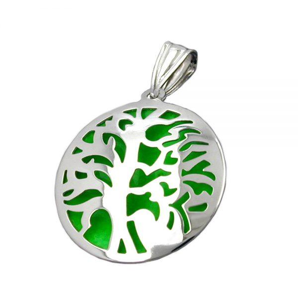 Pendentif arbre lunaire vert argent 925 Krossin bijoux en argent 93378xx