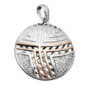Pendentif argent plaque or rouge 925 Krossin bijoux en argent 94008xx