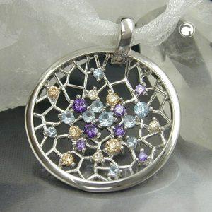 Pendentif attrape reve multicolore argent 925 Krossin bijoux en argent 90609x