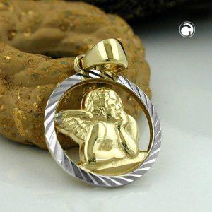 Pendentif bebe bapteme ange or 9k Krossin bijoux or 431068x