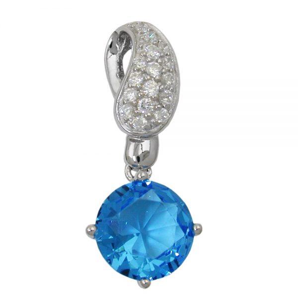 Pendentif bleu blanc Zircon argent 925 Krossin bijoux en argent 93451xx
