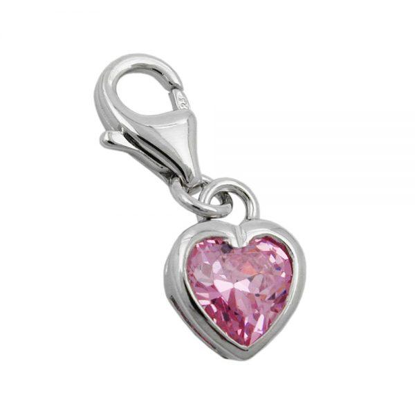 Pendentif charme coeur rose Zircon argent 925 Krossin bijoux en argent 93285xx