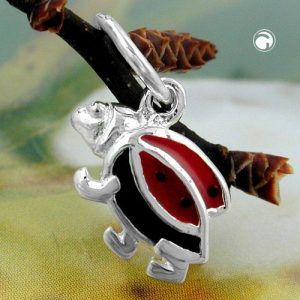 Pendentif coccinelle rouge noir argent 925 Krossin bijoux en argent 91118x