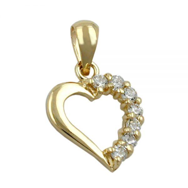 Pendentif coeur 14mm avec zircon 9k or 431142xx